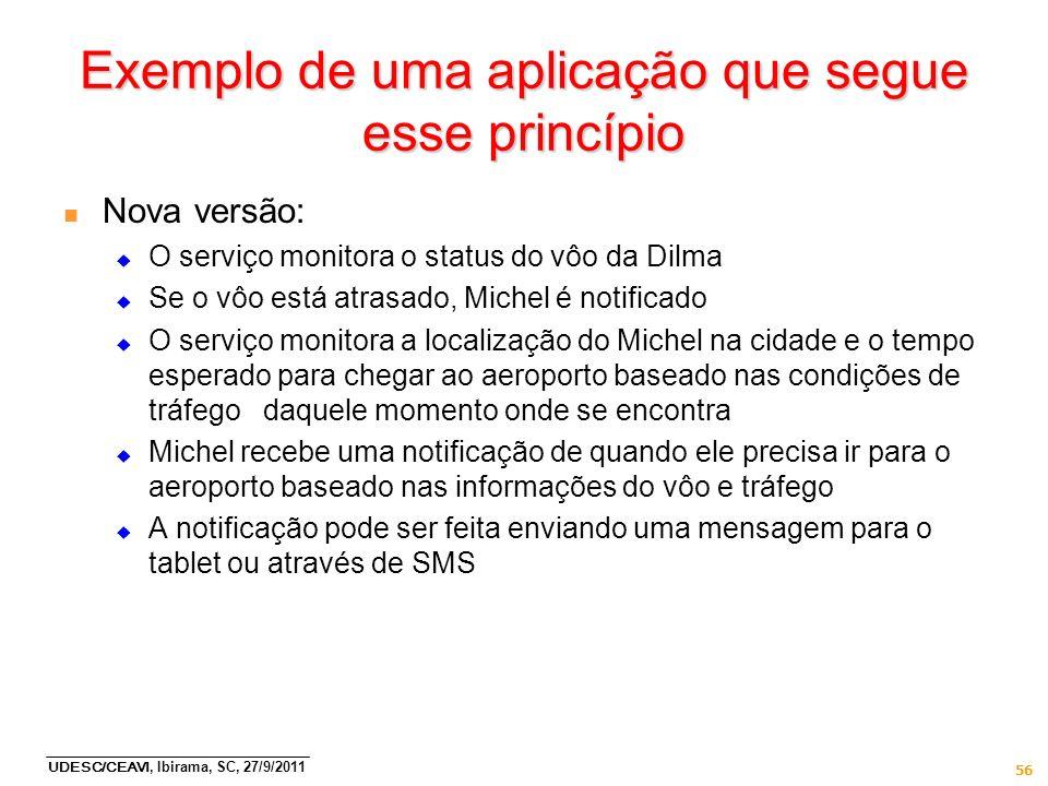 UDESC/CEAVI, Ibirama, SC, 27/9/2011 56 Exemplo de uma aplicação que segue esse princípio n Nova versão: O serviço monitora o status do vôo da Dilma Se