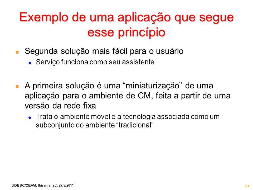 UDESC/CEAVI, Ibirama, SC, 27/9/2011 57 Exemplo de uma aplicação que segue esse princípio n Segunda solução mais fácil para o usuário Serviço funciona