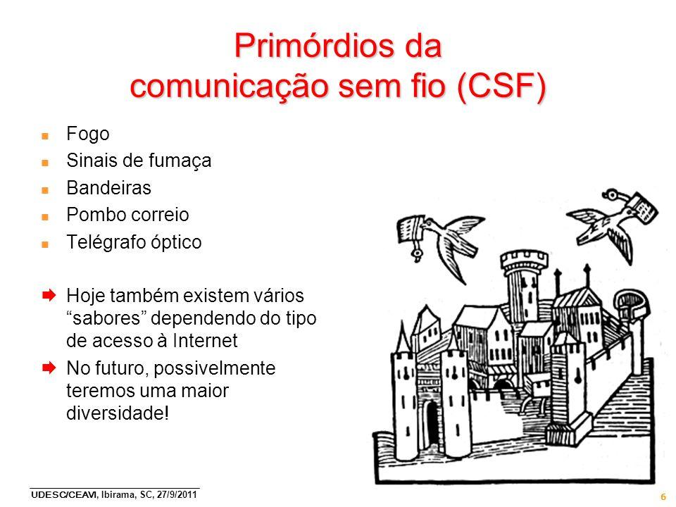 UDESC/CEAVI, Ibirama, SC, 27/9/2011 6 Primórdios da comunicação sem fio (CSF) n Fogo n Sinais de fumaça n Bandeiras n Pombo correio n Telégrafo óptico