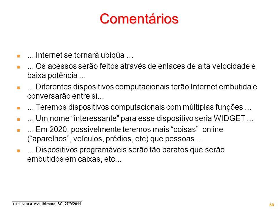 UDESC/CEAVI, Ibirama, SC, 27/9/2011 68 Comentários n... Internet se tornará ubíqüa... n... Os acessos serão feitos através de enlaces de alta velocida