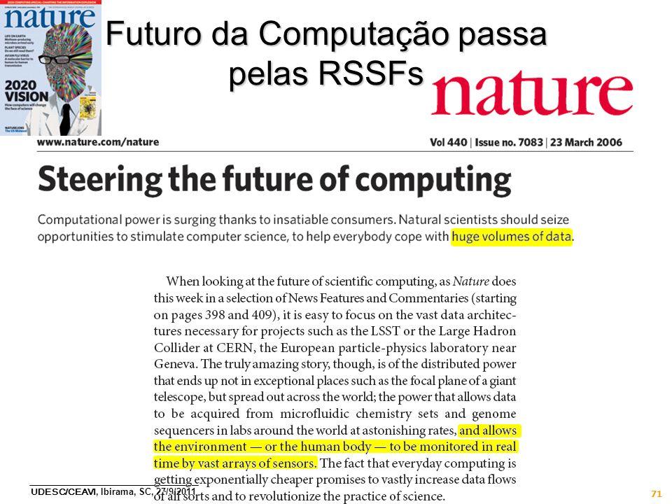 UDESC/CEAVI, Ibirama, SC, 27/9/2011 71 Futuro da Computação passa pelas RSSFs