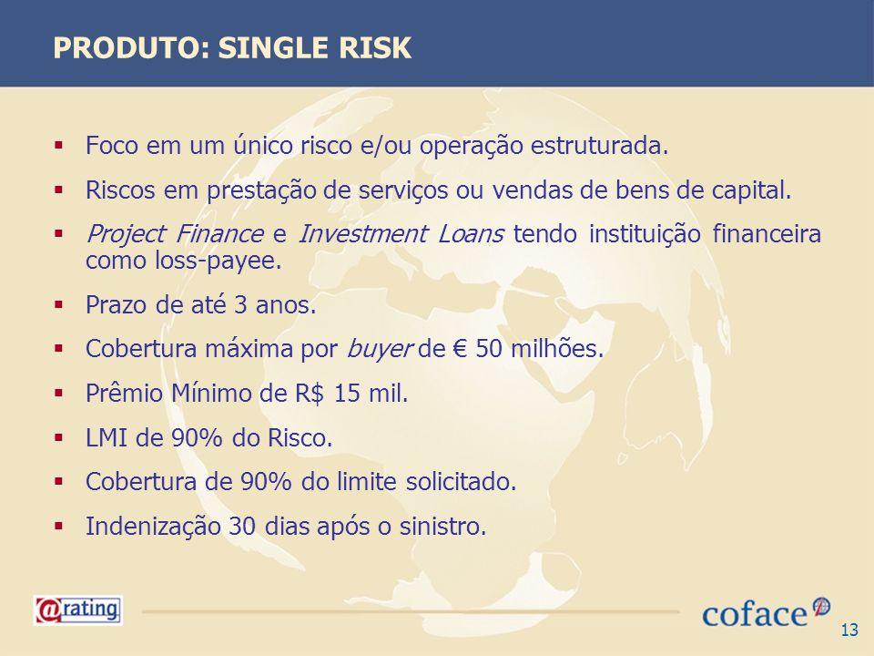 13 PRODUTO: SINGLE RISK Foco em um único risco e/ou operação estruturada. Riscos em prestação de serviços ou vendas de bens de capital. Project Financ