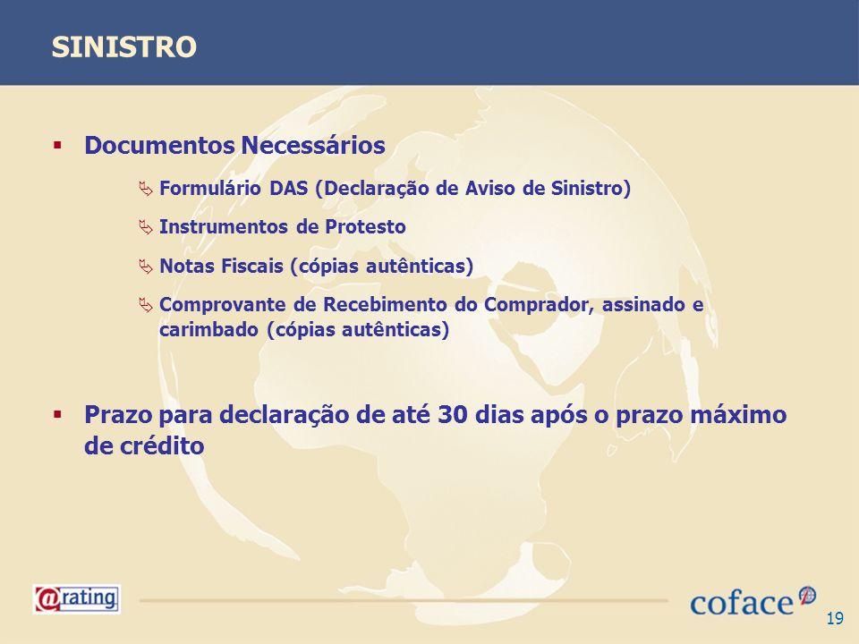 19 SINISTRO Documentos Necessários Formulário DAS (Declaração de Aviso de Sinistro) Instrumentos de Protesto Notas Fiscais (cópias autênticas) Comprov