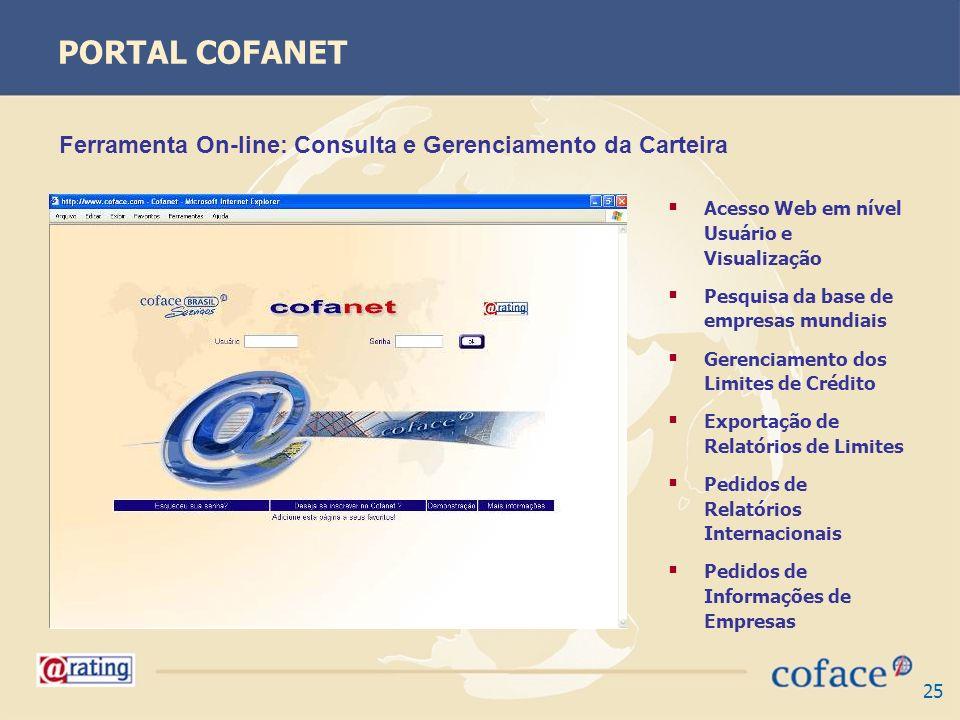 25 PORTAL COFANET Acesso Web em nível Usuário e Visualização Pesquisa da base de empresas mundiais Gerenciamento dos Limites de Crédito Exportação de