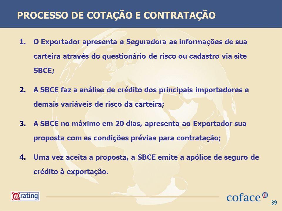 39 PROCESSO DE COTAÇÃO E CONTRATAÇÃO 1.O Exportador apresenta a Seguradora as informações de sua carteira através do questionário de risco ou cadastro