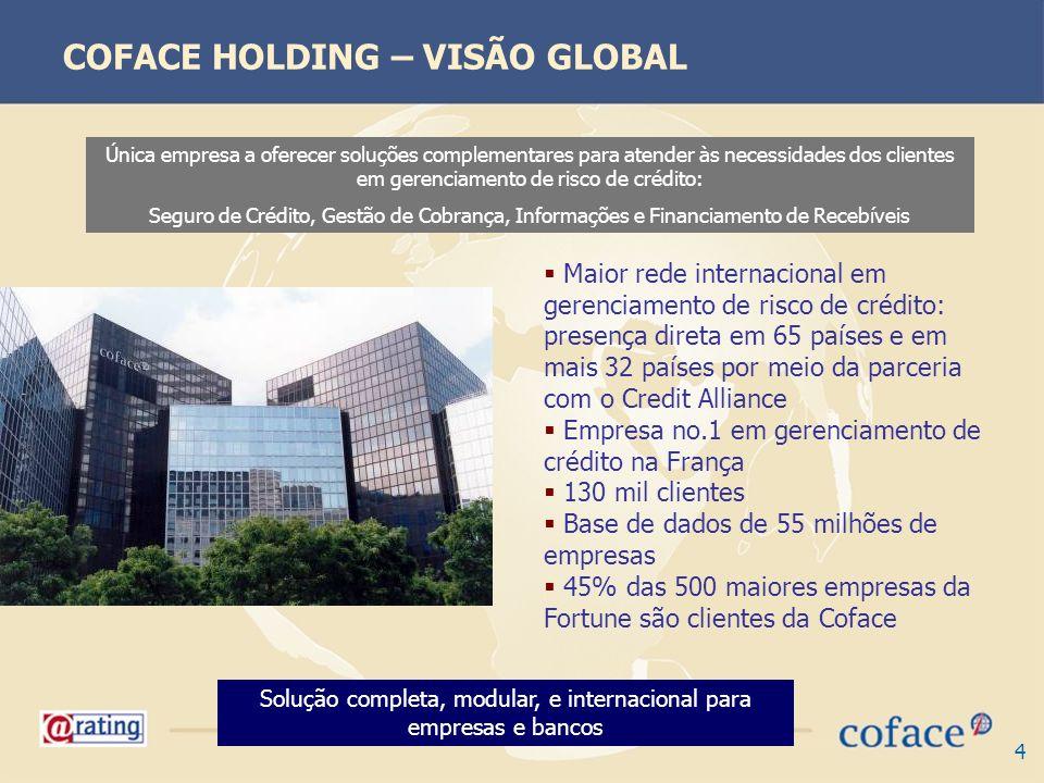 4 COFACE HOLDING – VISÃO GLOBAL Única empresa a oferecer soluções complementares para atender às necessidades dos clientes em gerenciamento de risco d