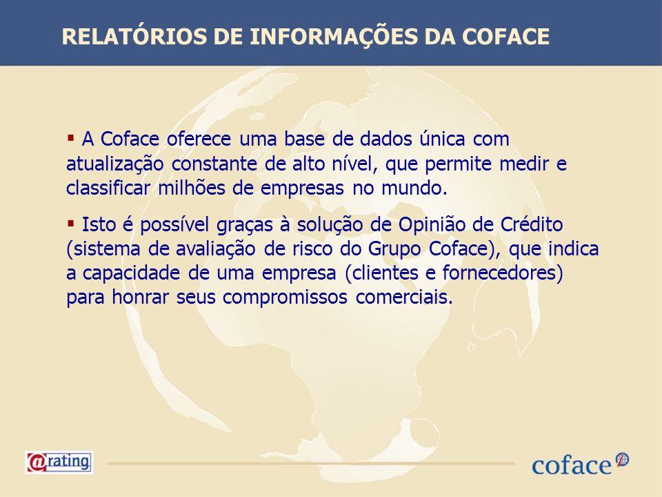 A Coface oferece uma base de dados única com atualização constante de alto nível, que permite medir e classificar milhões de empresas no mundo. Isto é