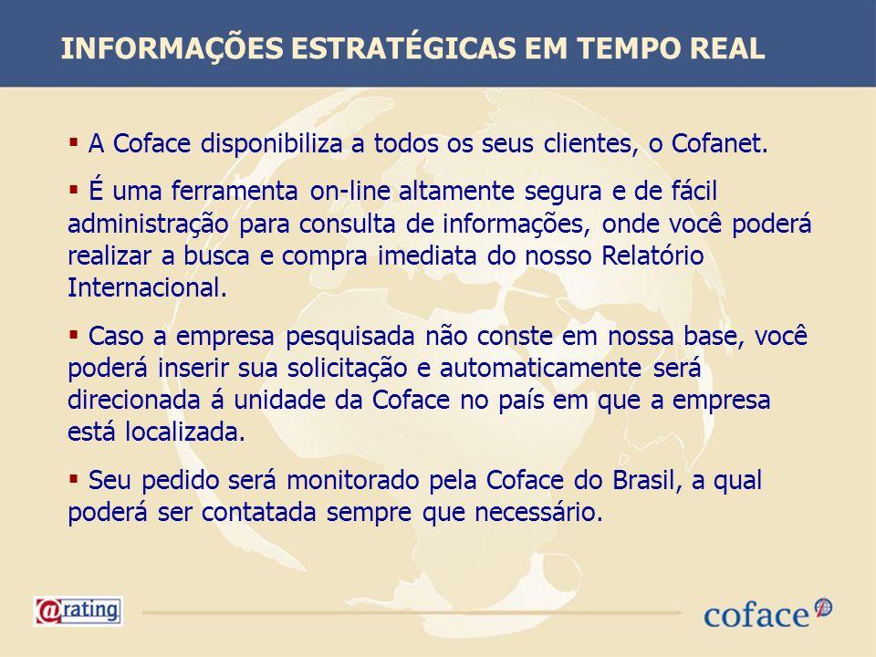 A Coface disponibiliza a todos os seus clientes, o Cofanet. É uma ferramenta on-line altamente segura e de fácil administração para consulta de inform
