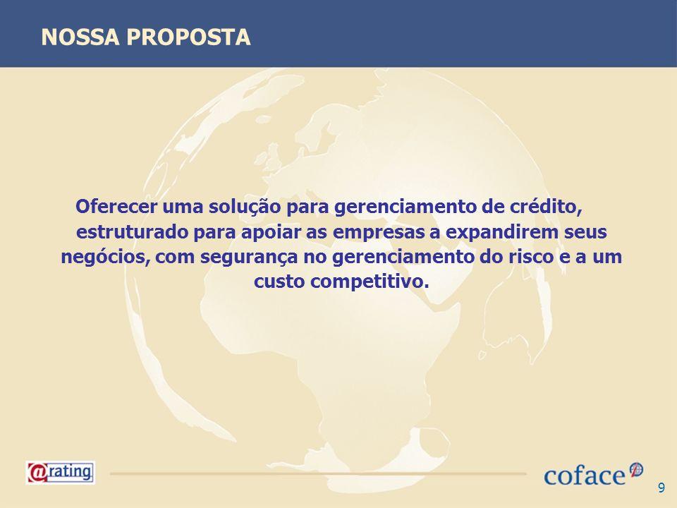 9 NOSSA PROPOSTA Oferecer uma solução para gerenciamento de crédito, estruturado para apoiar as empresas a expandirem seus negócios, com segurança no