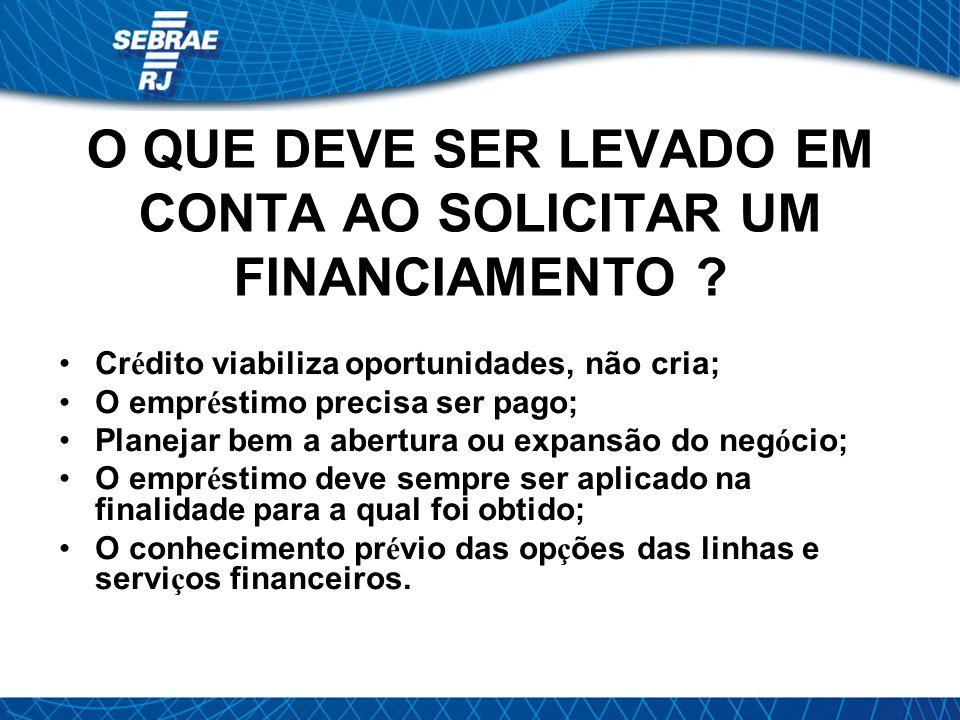 O QUE DEVE SER LEVADO EM CONTA AO SOLICITAR UM FINANCIAMENTO .