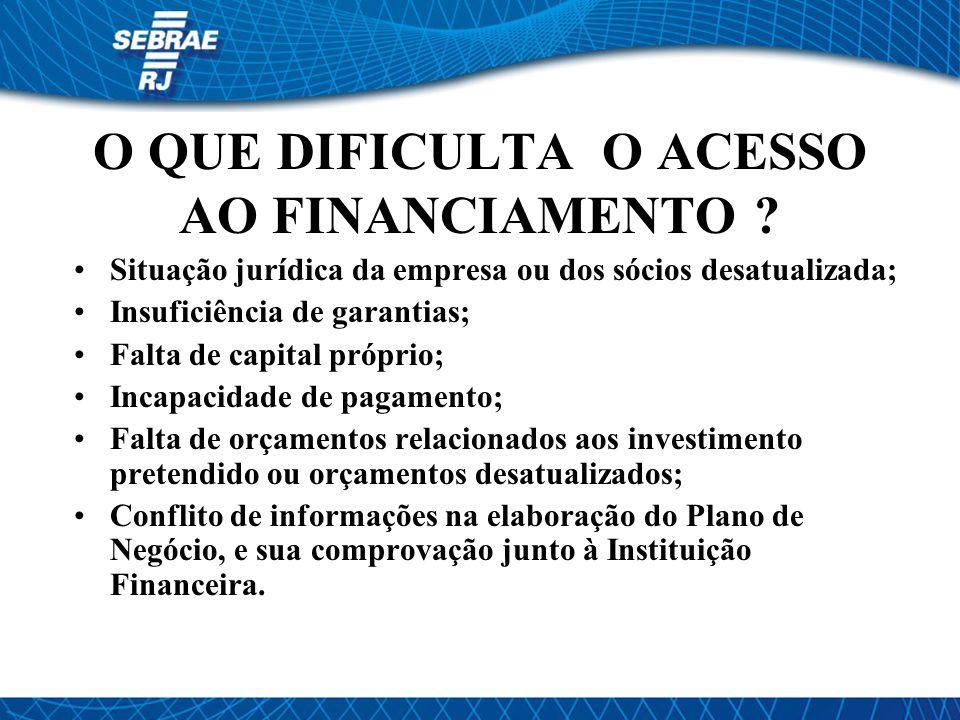O QUE DIFICULTA O ACESSO AO FINANCIAMENTO .