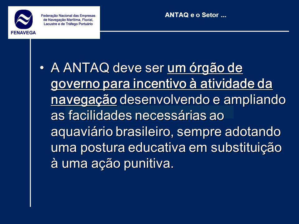 ANTAQ e o Setor... A ANTAQ deve ser um órgão de governo para incentivo à atividade da navegação desenvolvendo e ampliando as facilidades necessárias a