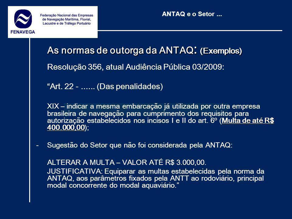 ANTAQ e o Setor... As normas de outorga da ANTAQ : (Exemplos) Resolução 356, atual Audiência Pública 03/2009: Art. 22 -...... (Das penalidades) Multa