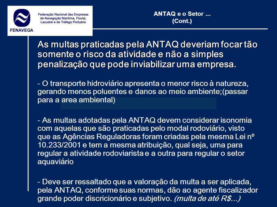 ANTAQ e o Setor... (Cont.) As multas praticadas pela ANTAQ deveriam focar tão somente o risco da atividade e não a simples penalização que pode inviab