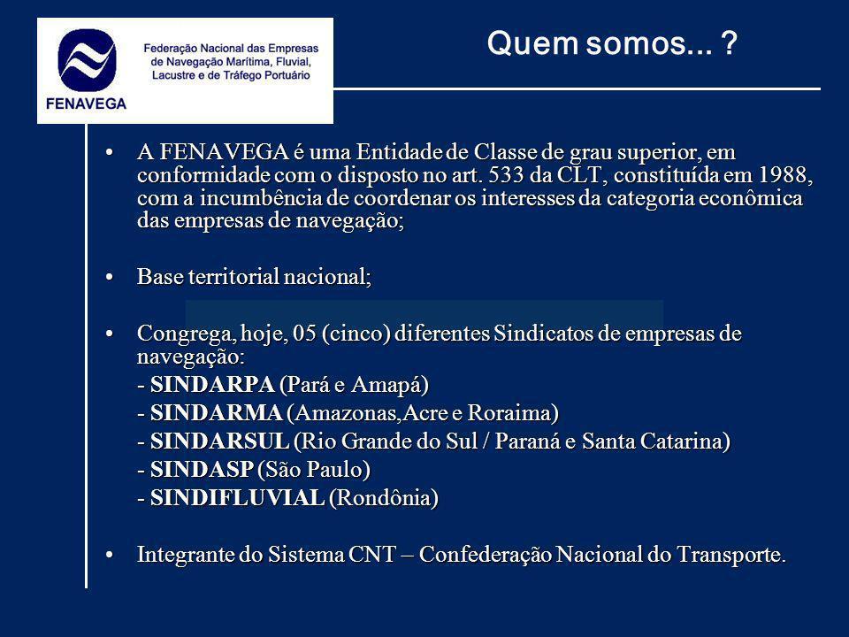 A FENAVEGA é uma Entidade de Classe de grau superior, em conformidade com o disposto no art. 533 da CLT, constituída em 1988, com a incumbência de coo