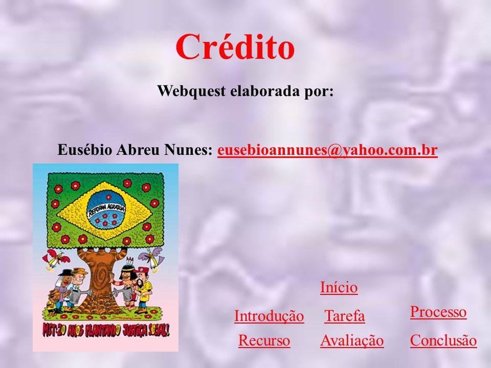 Webquest elaborada por: Eusébio Abreu Nunes: eusebioannunes@yahoo.com.breusebioannunes@yahoo.com.br Início IntroduçãoTarefa Processo RecursoAvaliaçãoC