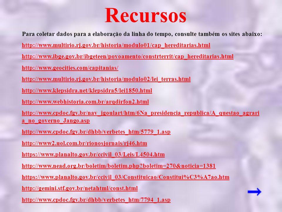 Para coletar dados para a elaboração da linha do tempo, consulte também os sites abaixo: http://www.multirio.rj.gov.br/historia/modulo01/cap_hereditar