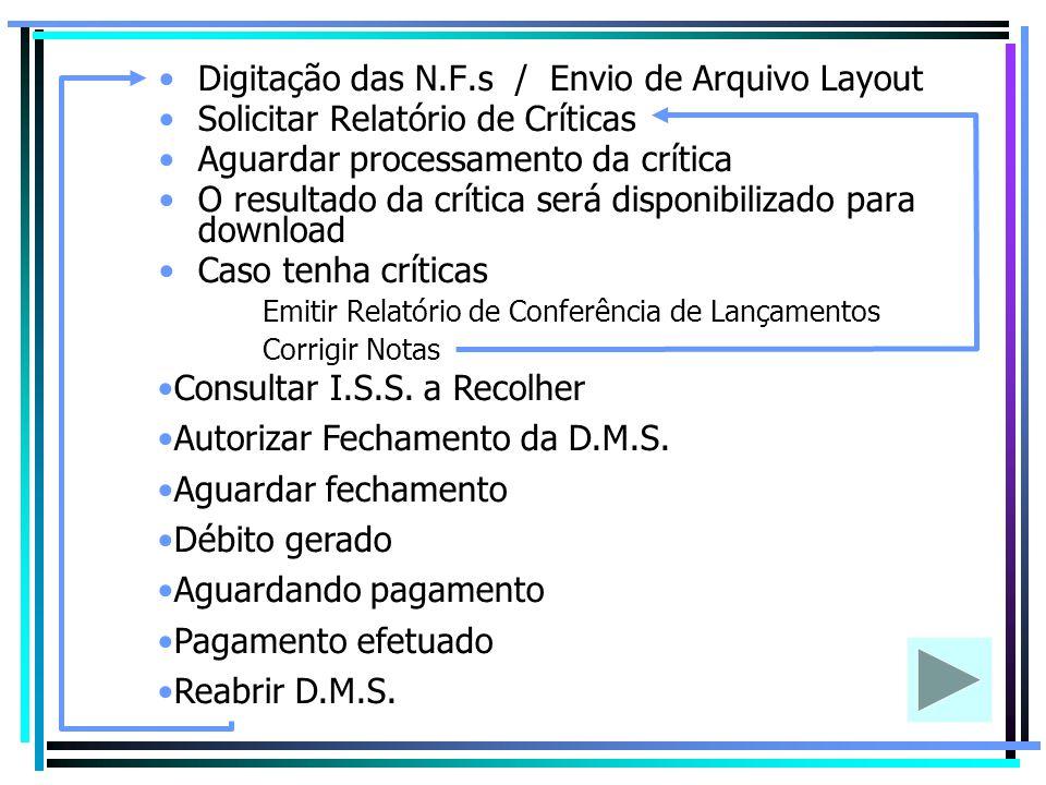 Digitação das N.F.s / Envio de Arquivo Layout Solicitar Relatório de Críticas Aguardar processamento da crítica O resultado da crítica será disponibil