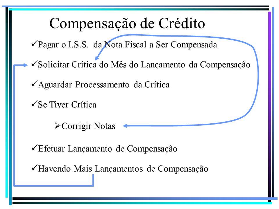 Compensação de Crédito Pagar o I.S.S. da Nota Fiscal a Ser Compensada Solicitar Crítica do Mês do Lançamento da Compensação Aguardar Processamento da