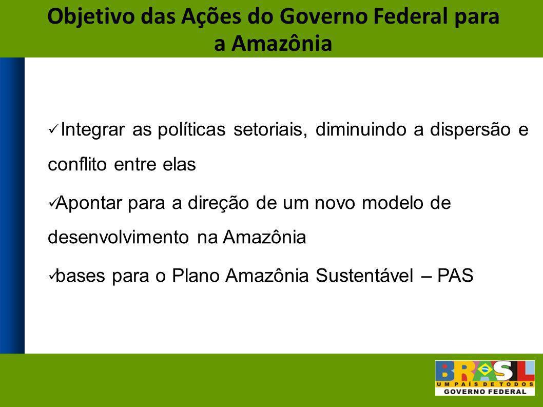Integrar as políticas setoriais, diminuindo a dispersão e conflito entre elas Apontar para a direção de um novo modelo de desenvolvimento na Amazônia