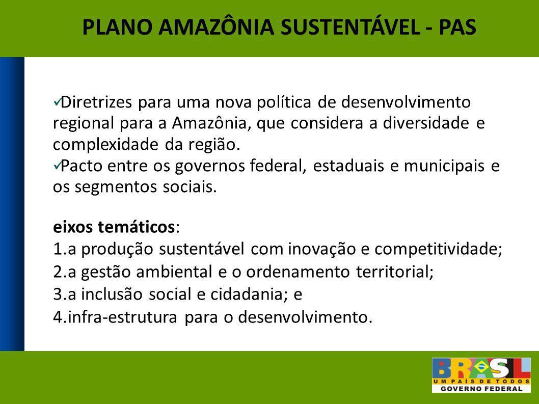 Diretrizes para uma nova política de desenvolvimento regional para a Amazônia, que considera a diversidade e complexidade da região. Pacto entre os go