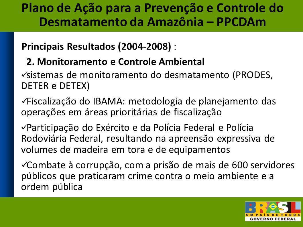 Principais Resultados (2004-2008) : 2. Monitoramento e Controle Ambiental sistemas de monitoramento do desmatamento (PRODES, DETER e DETEX) Fiscalizaç