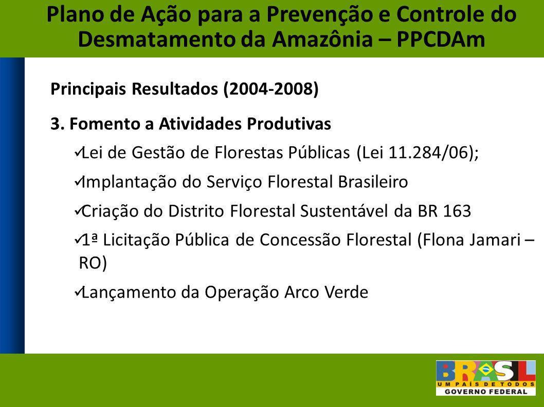 Principais Resultados (2004-2008) 3. Fomento a Atividades Produtivas Lei de Gestão de Florestas Públicas (Lei 11.284/06); Implantação do Serviço Flore
