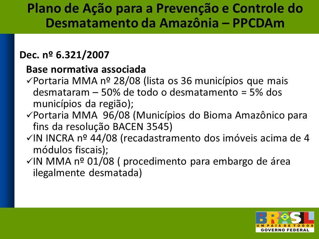 Dec. nº 6.321/2007 Base normativa associada Portaria MMA nº 28/08 (lista os 36 municípios que mais desmataram – 50% de todo o desmatamento = 5% dos mu