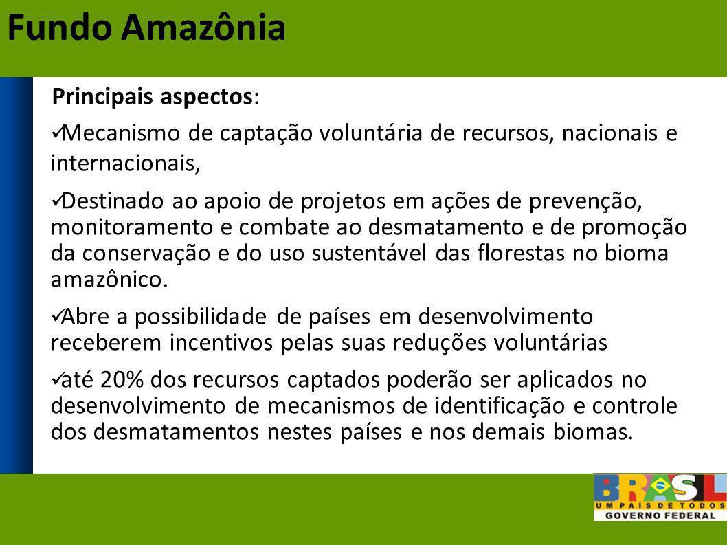 Principais aspectos: Mecanismo de captação voluntária de recursos, nacionais e internacionais, Destinado ao apoio de projetos em ações de prevenção, m
