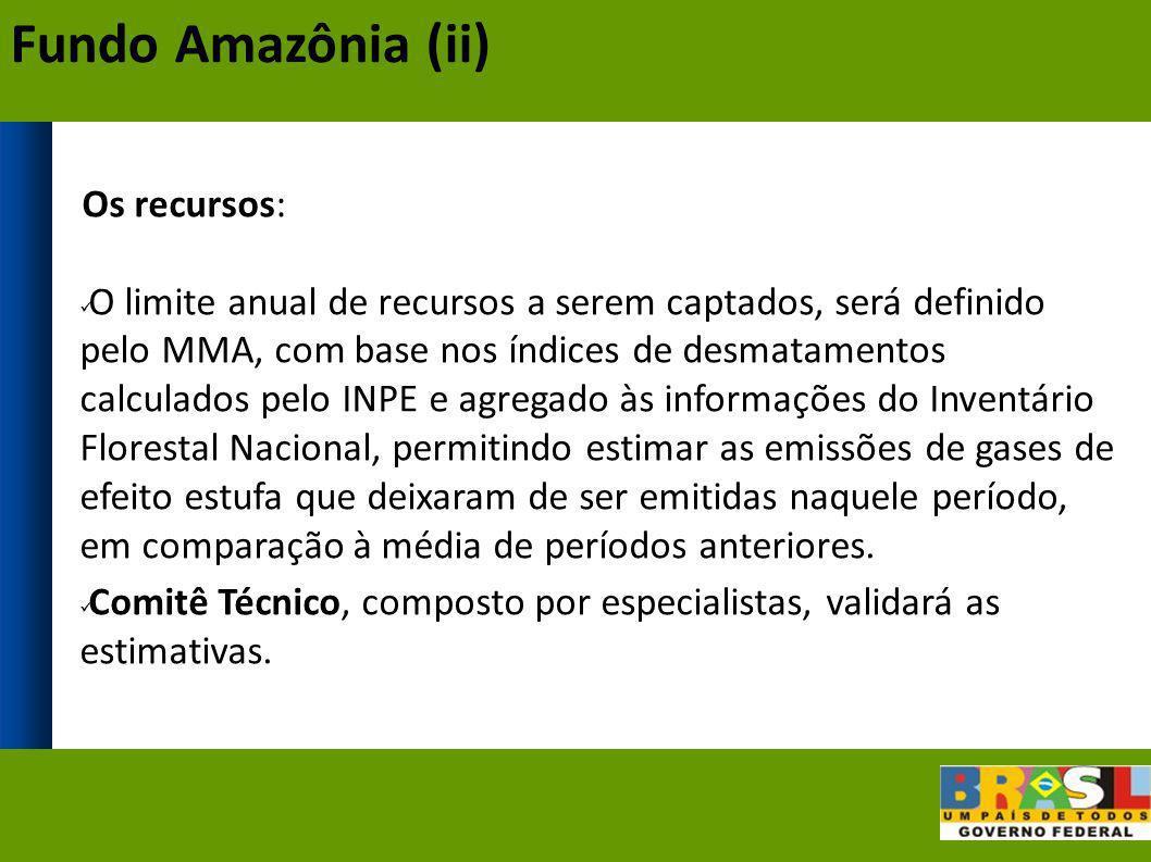 Os recursos: O limite anual de recursos a serem captados, será definido pelo MMA, com base nos índices de desmatamentos calculados pelo INPE e agregad