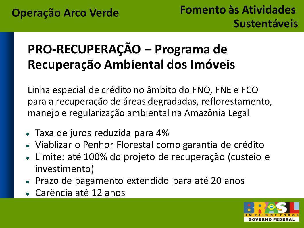 Taxa de juros reduzida para 4% Viablizar o Penhor Florestal como garantia de crédito Limite: até 100% do projeto de recuperação (custeio e investiment