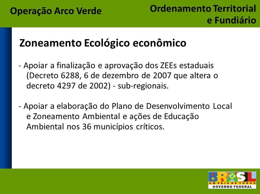 Zoneamento Ecológico econômico - Apoiar a finalização e aprovação dos ZEEs estaduais (Decreto 6288, 6 de dezembro de 2007 que altera o decreto 4297 de