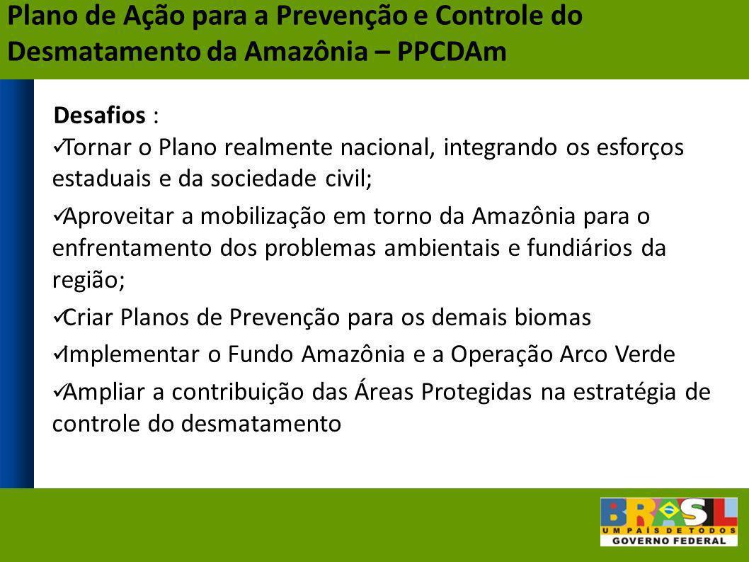 Desafios : Tornar o Plano realmente nacional, integrando os esforços estaduais e da sociedade civil; Aproveitar a mobilização em torno da Amazônia par