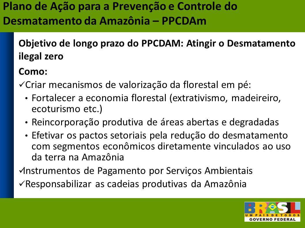 Objetivo de longo prazo do PPCDAM: Atingir o Desmatamento ilegal zero Como: Criar mecanismos de valorização da florestal em pé: Fortalecer a economia