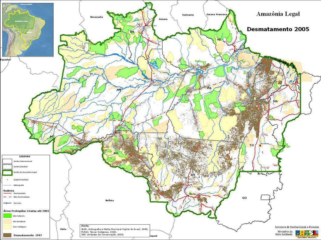 2007 14,030 km 2 2006 2004 2003 2002 25,151 km 2 21,204 km 2 18,793 km 2 2005 Action Plan for Deforestation Prevention and Control in the Amazon 27,429 km 2 11.224 km 2 Queda em torno de 59% em 3 anos seguidos Plano de Ação para a Prevenção e Controle do Desmatamento da Amazônia – PPCDAm