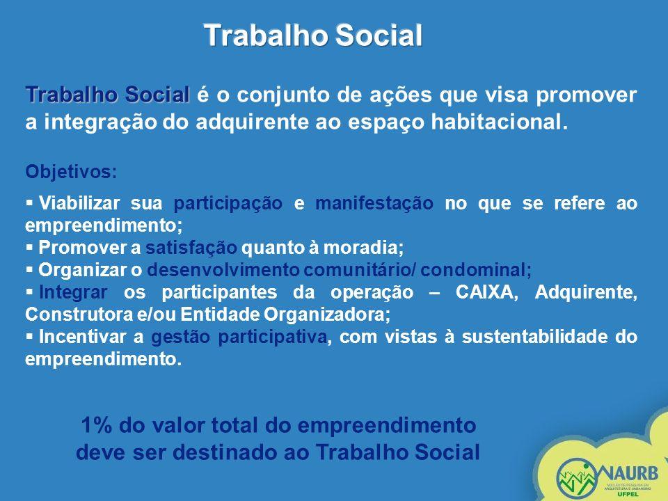 Trabalho Social Trabalho Social é o conjunto de ações que visa promover a integração do adquirente ao espaço habitacional. Objetivos: Viabilizar sua p
