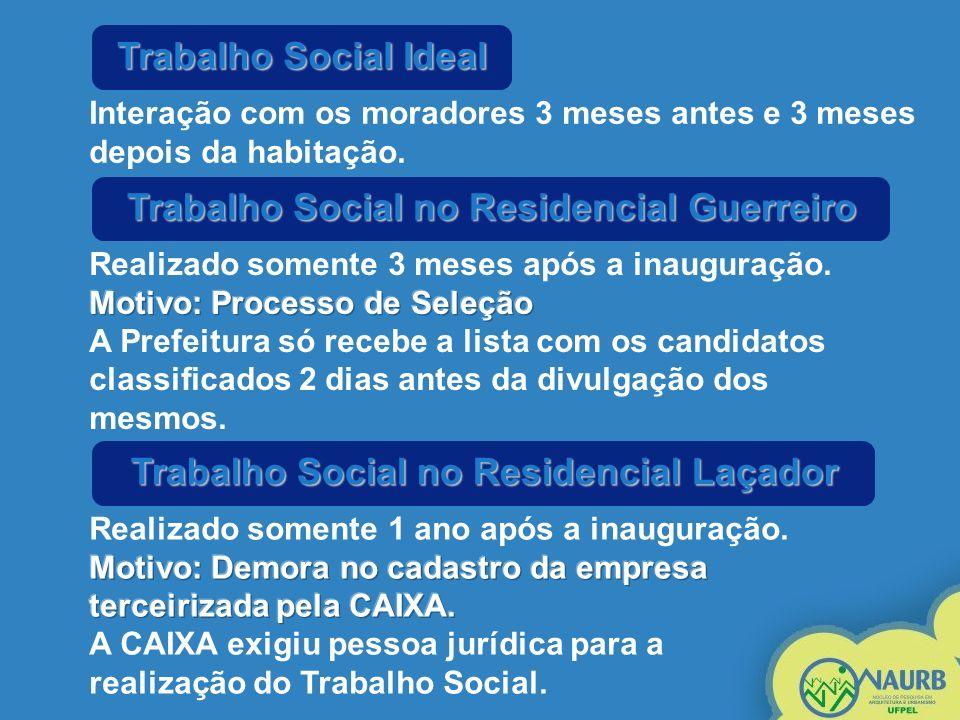 Trabalho Social Ideal Interação com os moradores 3 meses antes e 3 meses depois da habitação. Trabalho Social no Residencial Guerreiro Trabalho Social