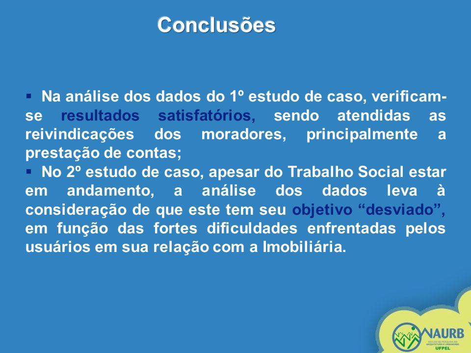 Na análise dos dados do 1º estudo de caso, verificam- se resultados satisfatórios, sendo atendidas as reivindicações dos moradores, principalmente a p