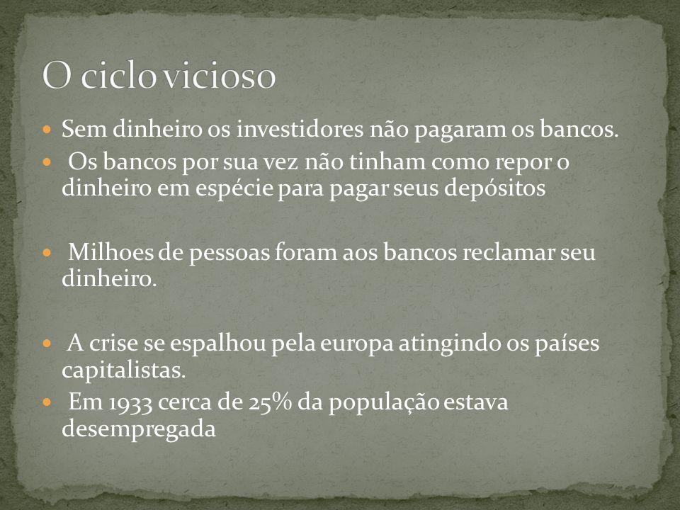 Sem dinheiro os investidores não pagaram os bancos.