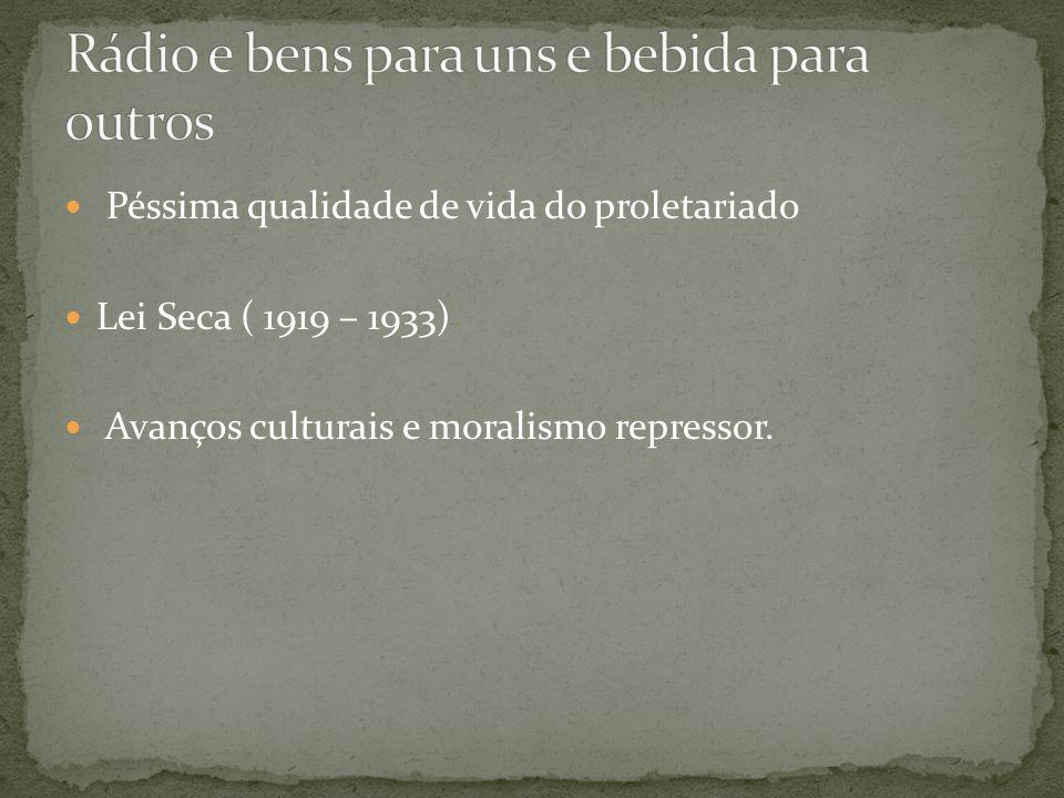 Péssima qualidade de vida do proletariado Lei Seca ( 1919 – 1933) Avanços culturais e moralismo repressor.