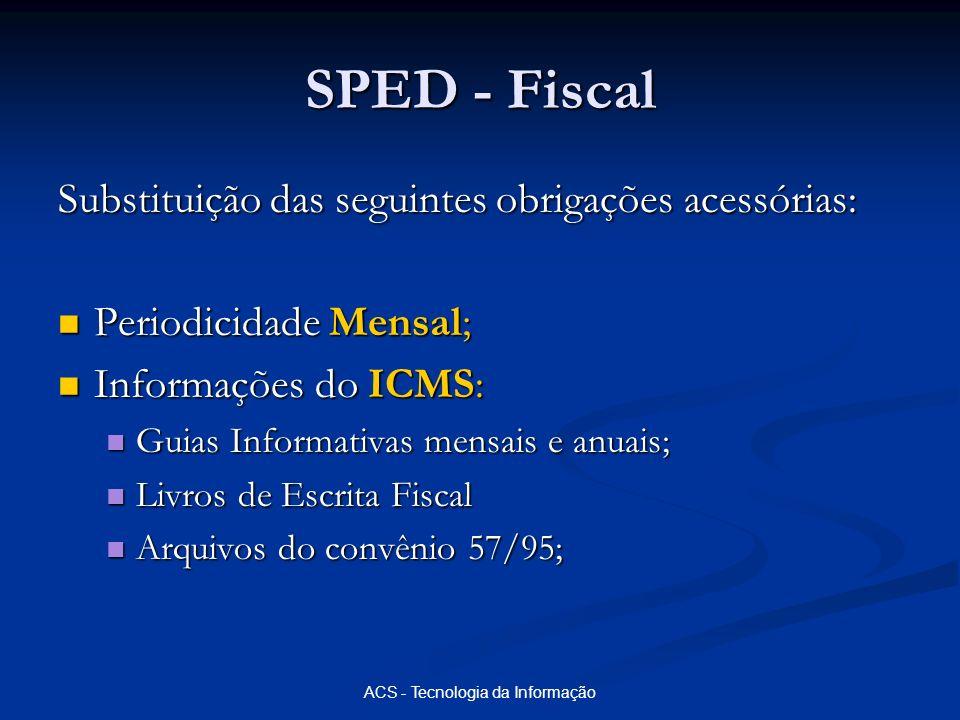 ACS - Tecnologia da Informação SPED - Fiscal Substituição das seguintes obrigações acessórias: Periodicidade Mensal; Periodicidade Mensal; Informações