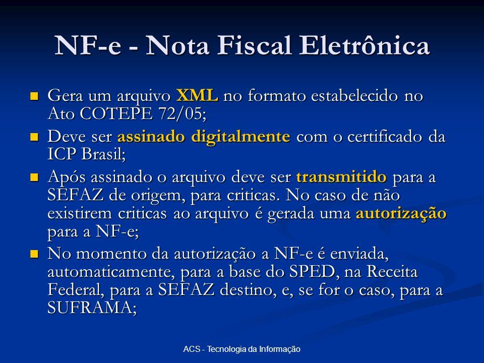 ACS - Tecnologia da Informação NF-e - Nota Fiscal Eletrônica Gera um arquivo XML no formato estabelecido no Ato COTEPE 72/05; Gera um arquivo XML no f