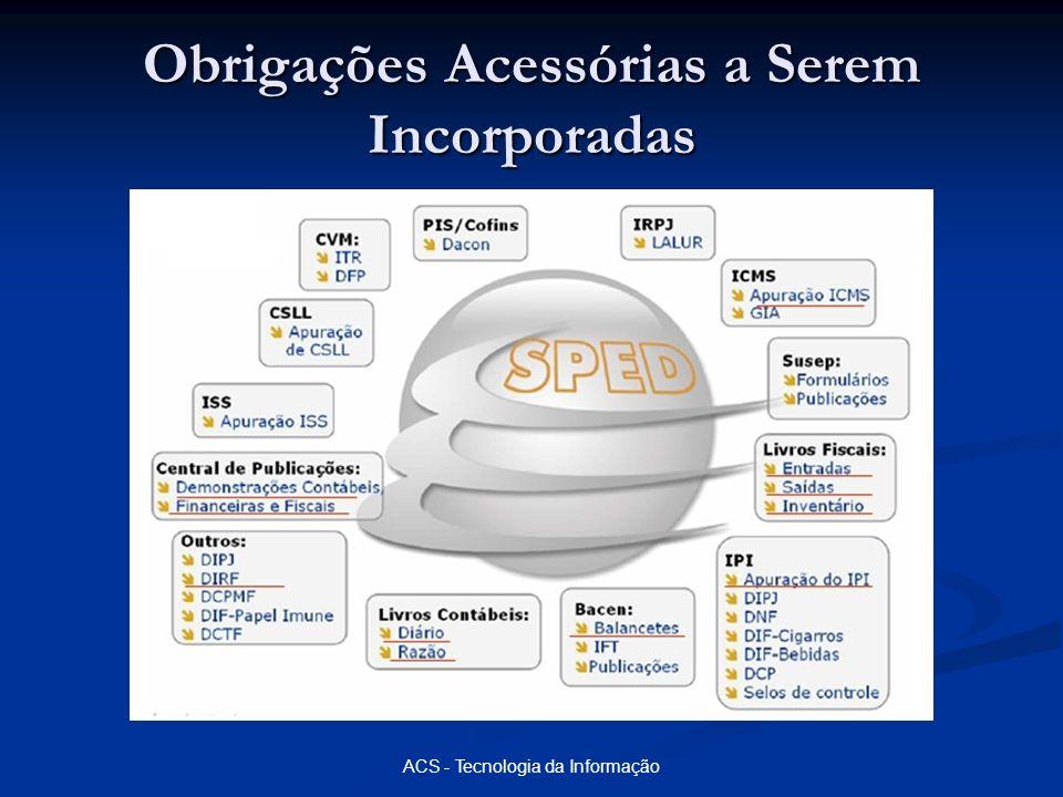 ACS - Tecnologia da Informação NF-e - Nota Fiscal Eletrônica Gera um arquivo XML no formato estabelecido no Ato COTEPE 72/05; Gera um arquivo XML no formato estabelecido no Ato COTEPE 72/05; Deve ser assinado digitalmente com o certificado da ICP Brasil; Deve ser assinado digitalmente com o certificado da ICP Brasil; Após assinado o arquivo deve ser transmitido para a SEFAZ de origem, para criticas.