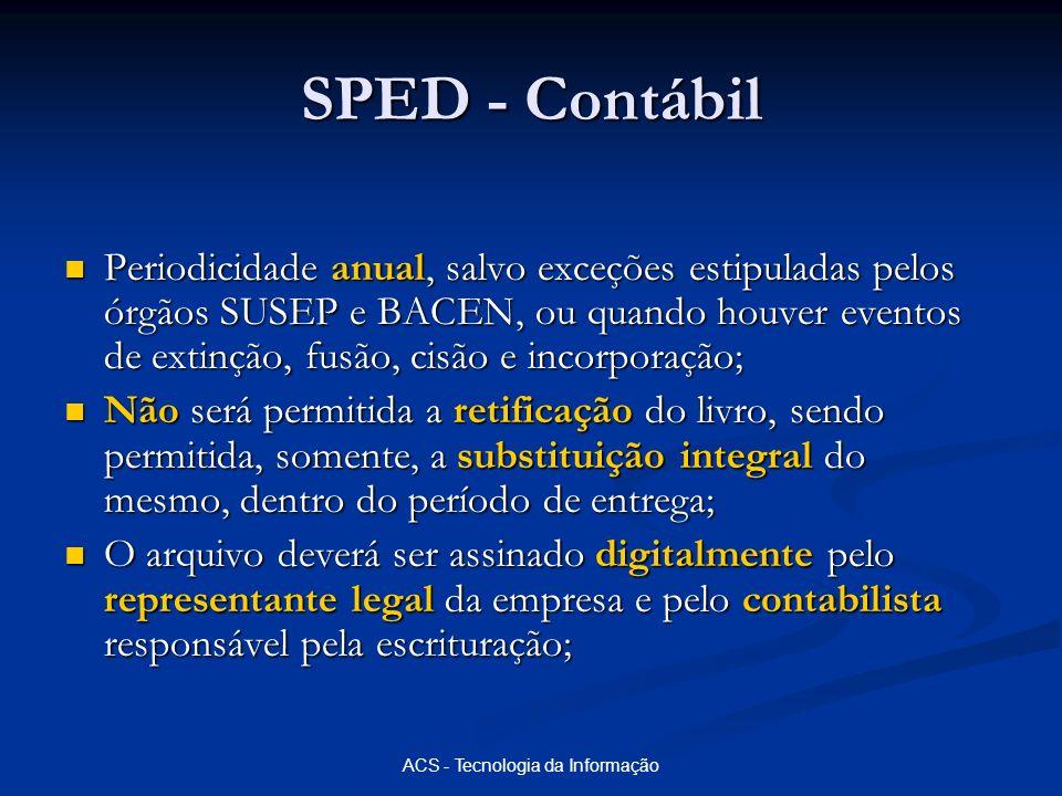 ACS - Tecnologia da Informação SPED - Contábil Periodicidade anual, salvo exceções estipuladas pelos órgãos SUSEP e BACEN, ou quando houver eventos de