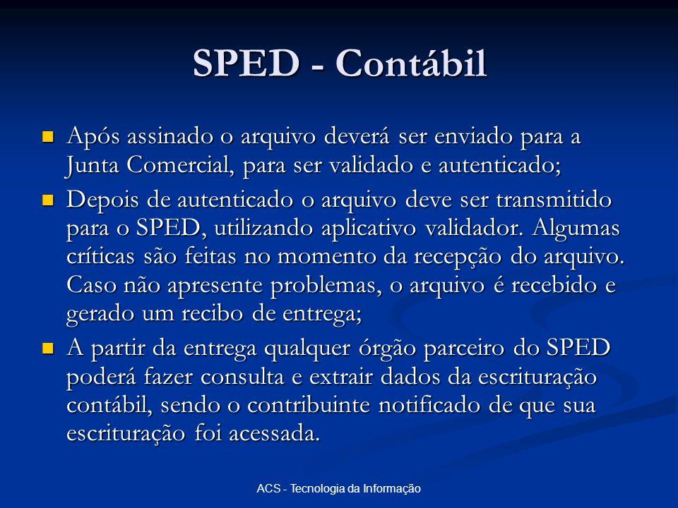 ACS - Tecnologia da Informação SPED - Contábil Após assinado o arquivo deverá ser enviado para a Junta Comercial, para ser validado e autenticado; Apó