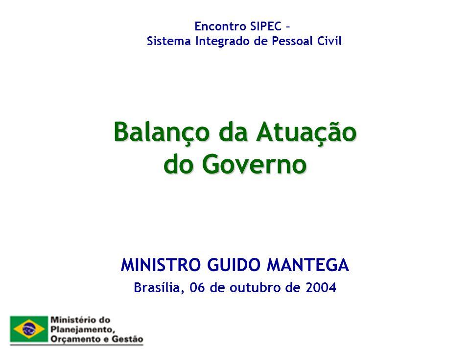 Balanço da Atuação do Governo MINISTRO GUIDO MANTEGA Brasília, 06 de outubro de 2004 Encontro SIPEC – Sistema Integrado de Pessoal Civil
