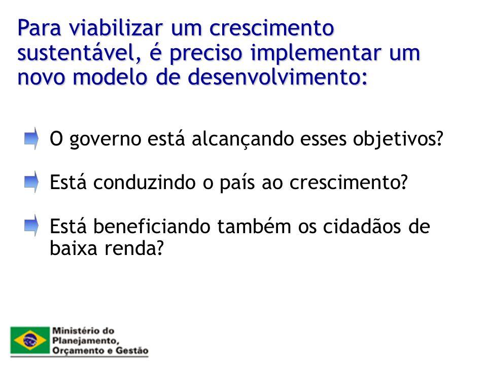 Para viabilizar um crescimento sustentável, é preciso implementar um novo modelo de desenvolvimento: O governo está alcançando esses objetivos? Está c