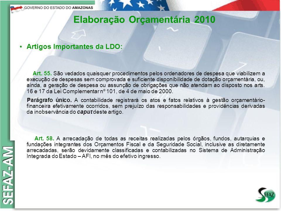 10 Governo do Estado do Amazonas Secretaria de Estado da Fazenda – SEFAZ Orçamento 2008 Elaboração Orçamentária 2010 Artigos Importantes da LDO: Art.