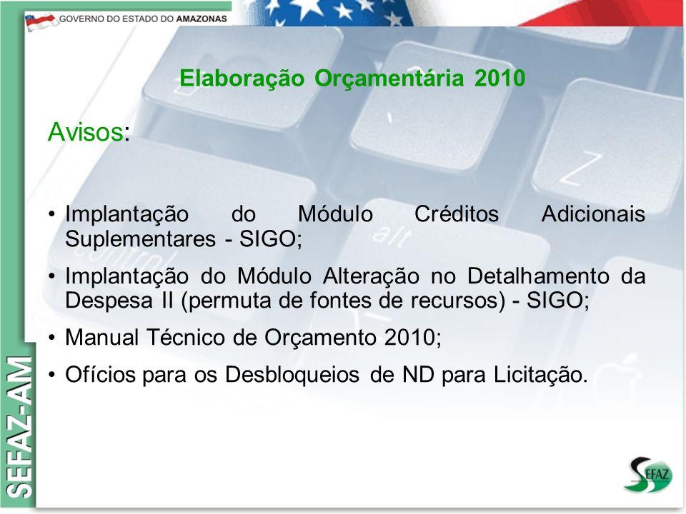 11 Governo do Estado do Amazonas Secretaria de Estado da Fazenda – SEFAZ Orçamento 2008 Elaboração Orçamentária 2010 Avisos: Implantação do Módulo Cré
