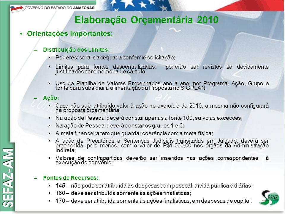 4 Governo do Estado do Amazonas Secretaria de Estado da Fazenda – SEFAZ Orçamento 2008 Elaboração Orçamentária 2010 Orientações Importantes: –Distribu